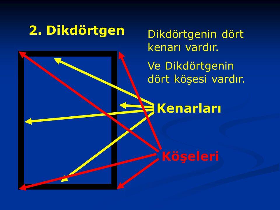 2.Dikdörtgen Dikdörtgenin dört kenarı vardır.