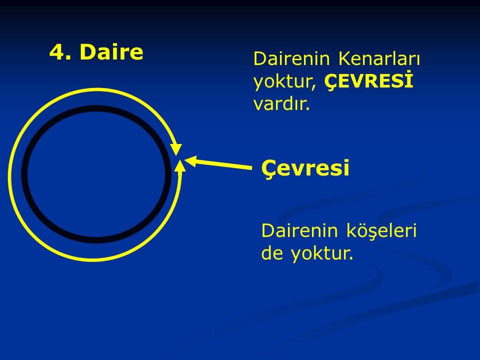 4. Daire Dairenin Kenarları yoktur, ÇEVRESİ vardır. Çevresi Dairenin köşeleri de yoktur.