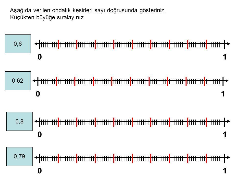 01 01 01 01 Aşağıda verilen ondalık kesirleri sayı doğrusunda gösteriniz. Küçükten büyüğe sıralayınız 0,6 0,62 0,8 0,79