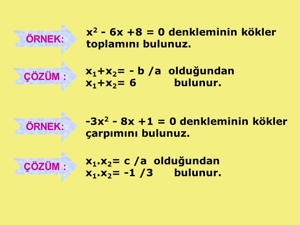 3.DERECE DENKLEMİN KÖKLERİ VE KATSAYILARI ARASINDAKİ BAĞINTILAR ax3 + bx2 +cx +d = 0 üçüncü dereceden denkleminin kökleri, x 1, x 2 ve x 3 olmak üzere; bulunur.