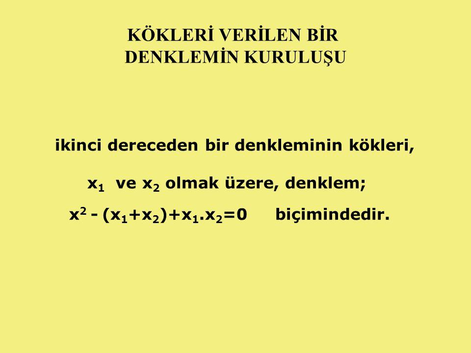 ÖRNEK: Kökleri -2 ve 3 olan ikinci derece denklemi bulunuz.