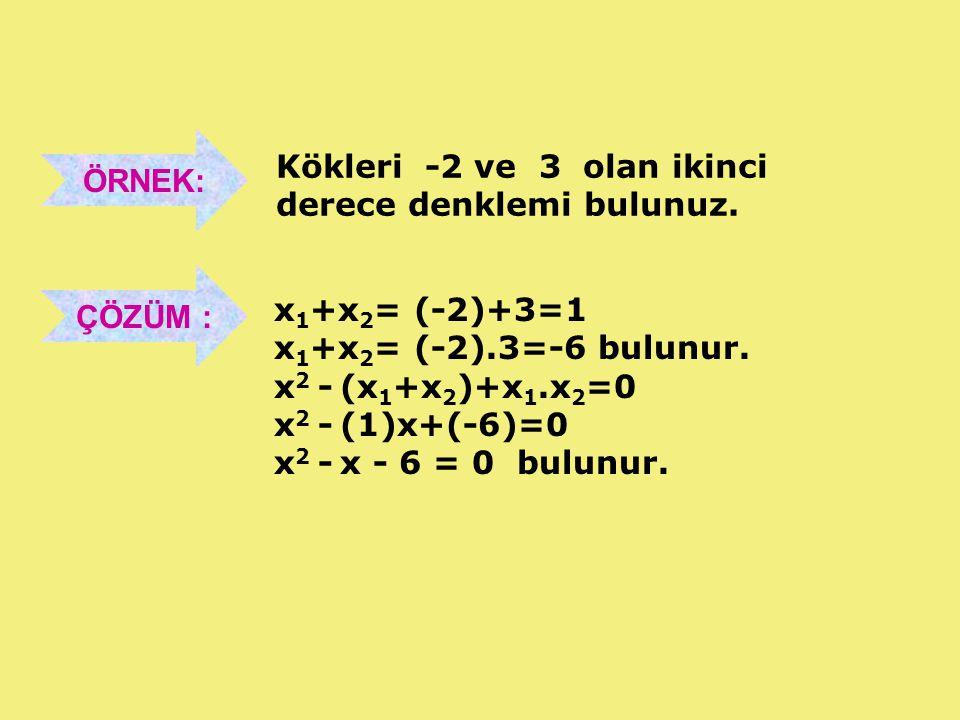 ÖRNEK: Kökleri -2 ve 3 olan ikinci derece denklemi bulunuz. ÇÖZÜM : x 1 +x 2 = (-2)+3=1 x 1 +x 2 = (-2).3=-6 bulunur. x 2 - (x 1 +x 2 )+x 1.x 2 =0 x 2