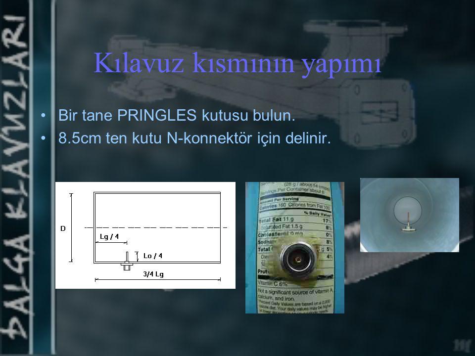 Kılavuz kısmının yapımı Bir tane PRINGLES kutusu bulun. 8.5cm ten kutu N-konnektör için delinir.