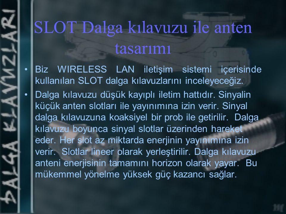 SLOT Dalga kılavuzu ile anten tasarımı Biz WIRELESS LAN iletişim sistemi içerisinde kullanılan SLOT dalga kılavuzlarını inceleyeceğiz. Dalga kılavuzu