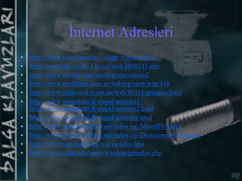 İnternet Adresleri http://www.netscum.com/~clapp/wireless.html http://news.bbc.co.uk/1/hi/sci/tech/1860241.stm http://www.oreilly.com/catalog/imoviemm