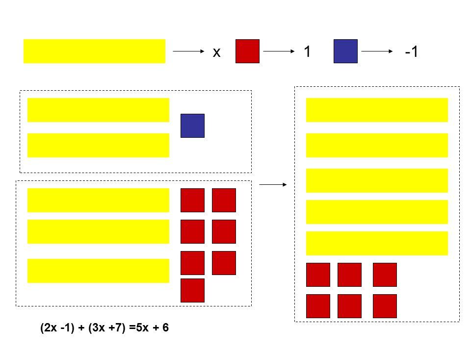 x1 (2x -1) + (3x +7) =5x + 6