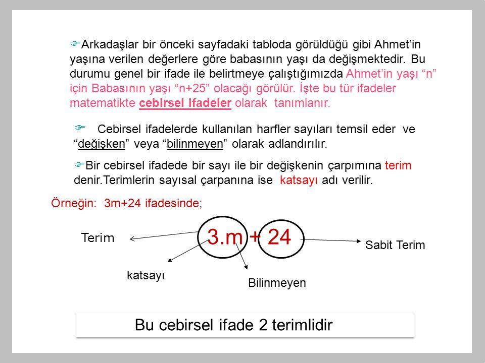  Arkadaşlar bir önceki sayfadaki tabloda görüldüğü gibi Ahmet'in yaşına verilen değerlere göre babasının yaşı da değişmektedir. Bu durumu genel bir i