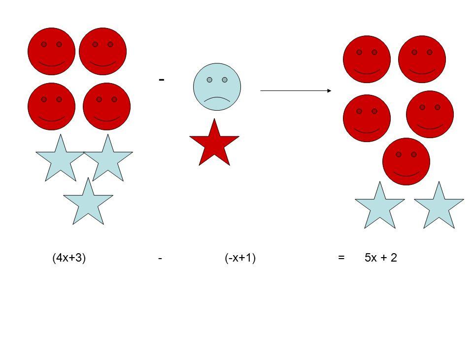 - (4x+3) - (-x+1) = 5x + 2
