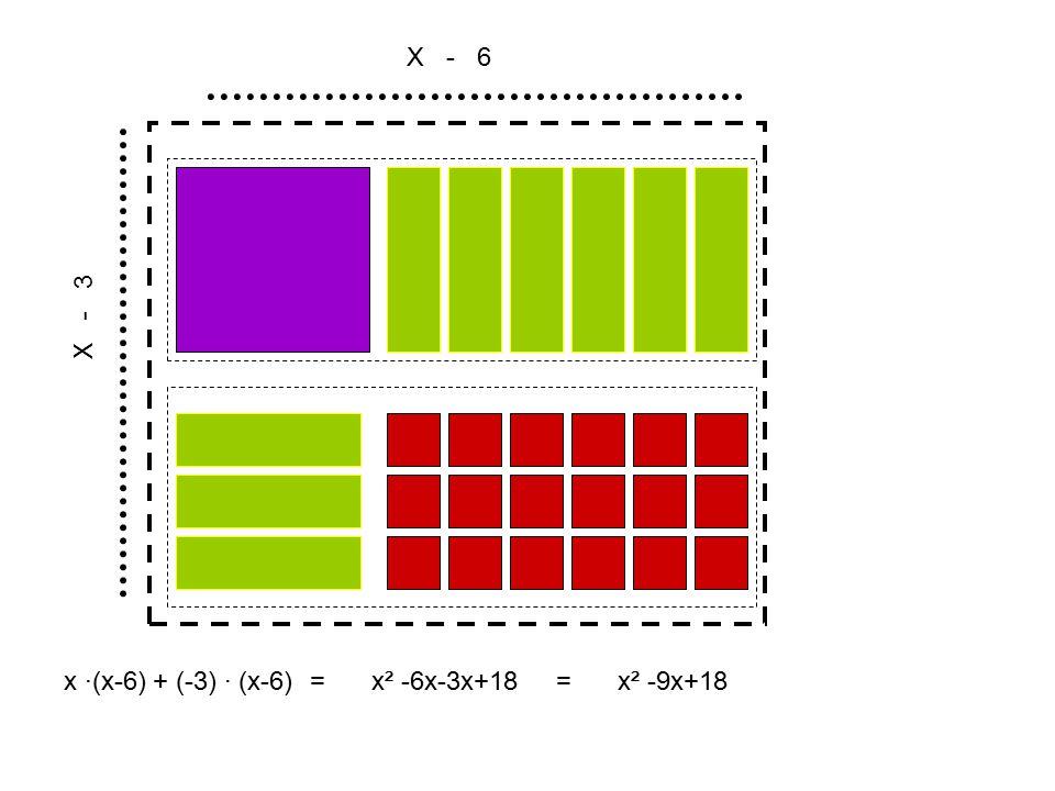 X - 6 X - 3 x ∙(x-6) + (-3) ∙ (x-6)x² -6x-3x+18x² -9x+18==