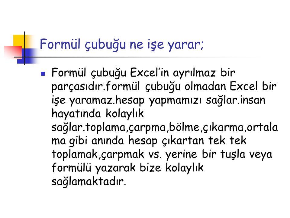 Formül çubuğu ne işe yarar; Formül çubuğu Excel'in ayrılmaz bir parçasıdır.formül çubuğu olmadan Excel bir işe yaramaz.hesap yapmamızı sağlar.insan ha