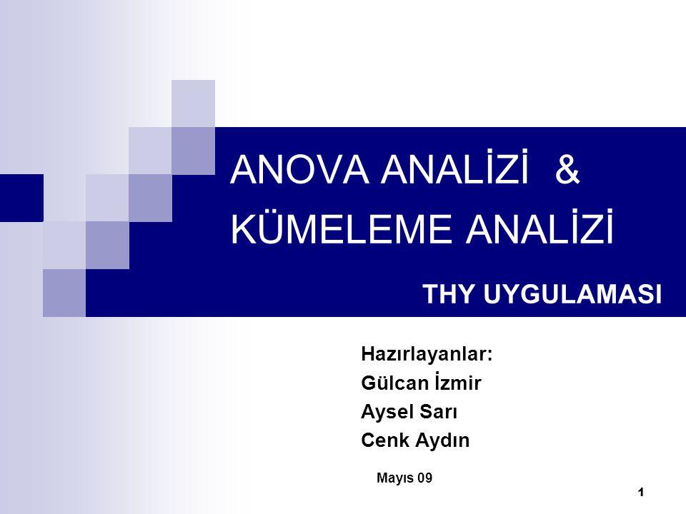 1 ANOVA ANALİZİ & KÜMELEME ANALİZİ THY UYGULAMASI Hazırlayanlar: Gülcan İzmir Aysel Sarı Cenk Aydın Mayıs 09