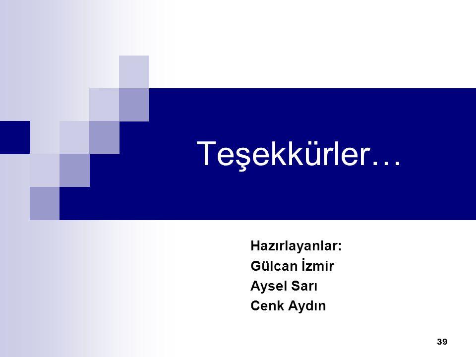 39 Teşekkürler… Hazırlayanlar: Gülcan İzmir Aysel Sarı Cenk Aydın