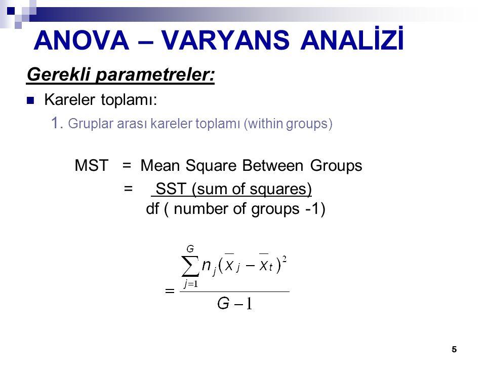 5 Gerekli parametreler: Kareler toplamı: 1. Gruplar arası kareler toplamı (within groups) MST = Mean Square Between Groups = SST (sum of squares) df (