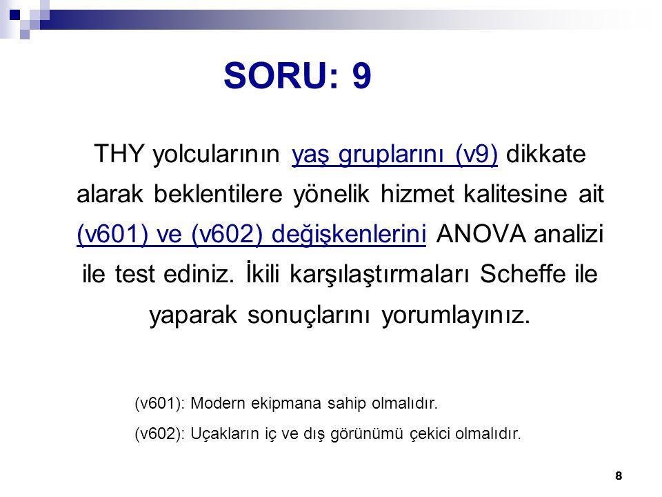 8 SORU: 9 THY yolcularının yaş gruplarını (v9) dikkate alarak beklentilere yönelik hizmet kalitesine ait (v601) ve (v602) değişkenlerini ANOVA analizi