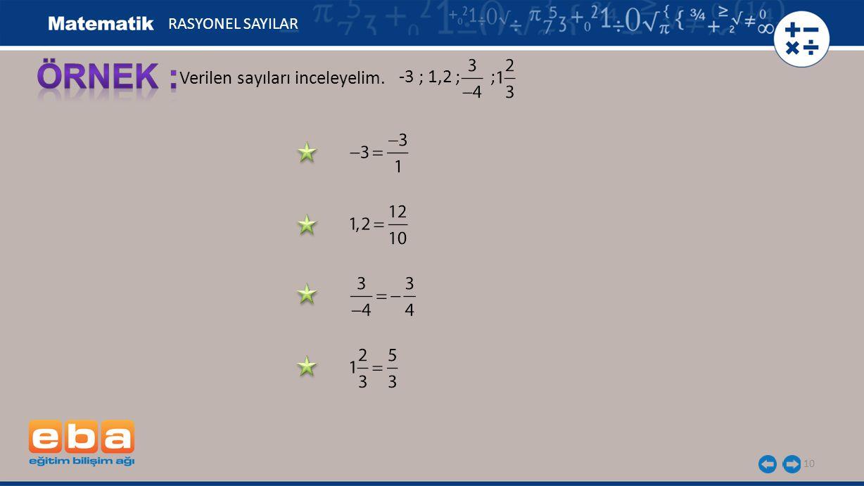 -3 ; 1,2 ; ; 10 Verilen sayıları inceleyelim. RASYONEL SAYILAR