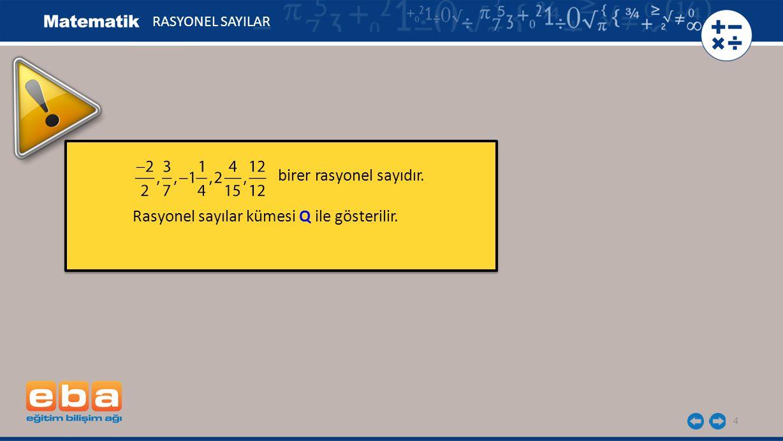 4 birer rasyonel sayıdır. Rasyonel sayılar kümesi Q ile gösterilir. birer rasyonel sayıdır. Rasyonel sayılar kümesi Q ile gösterilir. RASYONEL SAYILAR