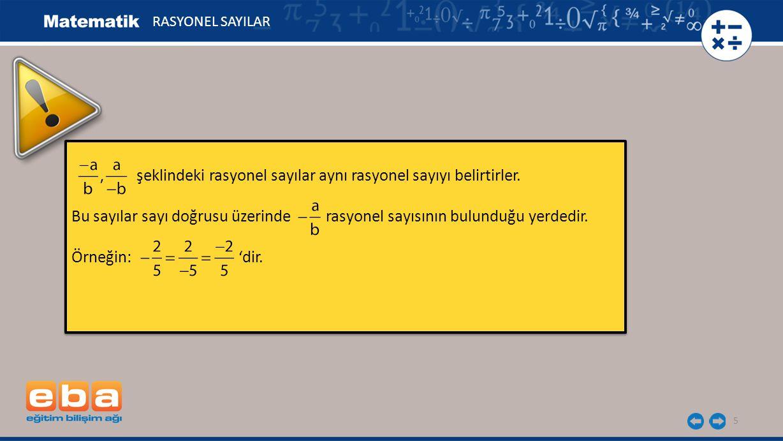 5 şeklindeki rasyonel sayılar aynı rasyonel sayıyı belirtirler. Bu sayılar sayı doğrusu üzerinde rasyonel sayısının bulunduğu yerdedir. Örneğin: 'dir.