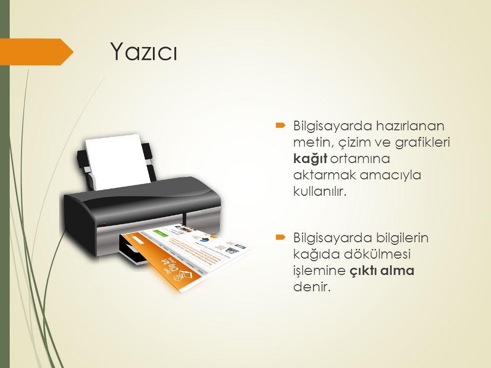 Yazıcı  Bilgisayarda hazırlanan metin, çizim ve grafikleri kağıt ortamına aktarmak amacıyla kullanılır.  Bilgisayarda bilgilerin kağıda dökülmesi iş