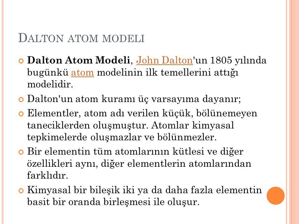 D ALTON ATOM MODELI Dalton Atom Modeli, John Dalton'un 1805 yılında bugünkü atom modelinin ilk temellerini attığı modelidir.John Daltonatom Dalton'un