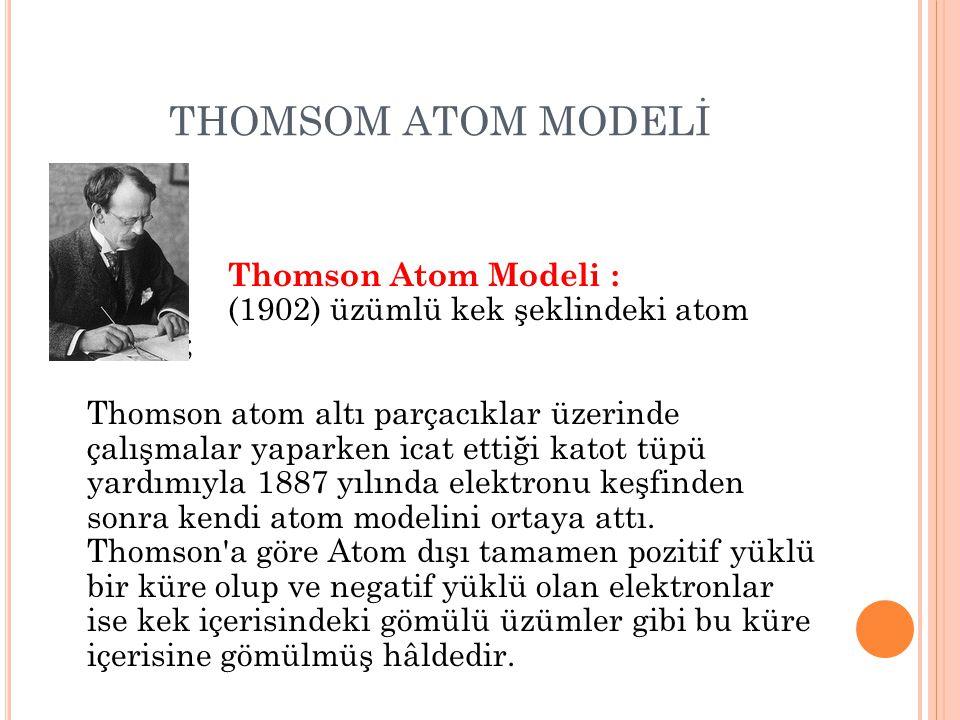 THOMSOM ATOM MODELİ Thomson Atom Modeli : (1902) üzümlü kek şeklindeki atom modeli; Thomson atom altı parçacıklar üzerinde çalışmalar yaparken icat et