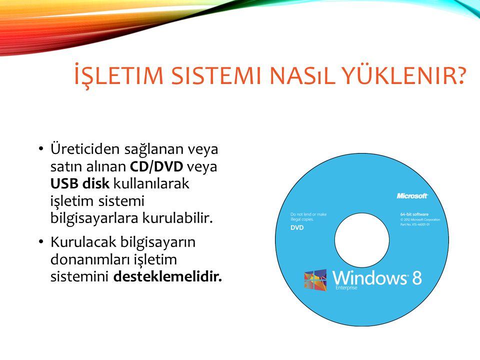 İŞLETIM SISTEMI NASıL YÜKLENIR? Üreticiden sağlanan veya satın alınan CD/DVD veya USB disk kullanılarak işletim sistemi bilgisayarlara kurulabilir. Ku