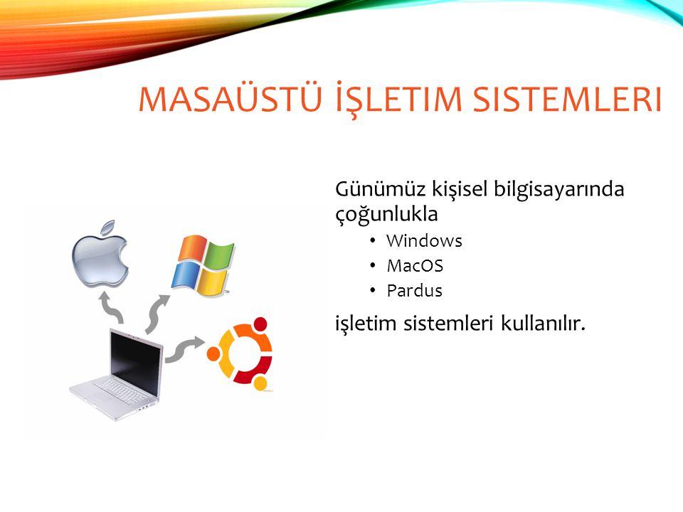 MASAÜSTÜ İŞLETIM SISTEMLERI Günümüz kişisel bilgisayarında çoğunlukla Windows MacOS Pardus işletim sistemleri kullanılır.