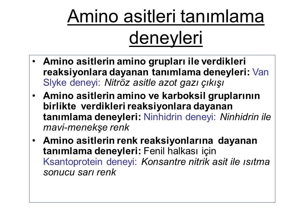 Amino asitleri tanımlama deneyleri Amino asitlerin amino grupları ile verdikleri reaksiyonlara dayanan tanımlama deneyleri: Van Slyke deneyi: Nitröz a