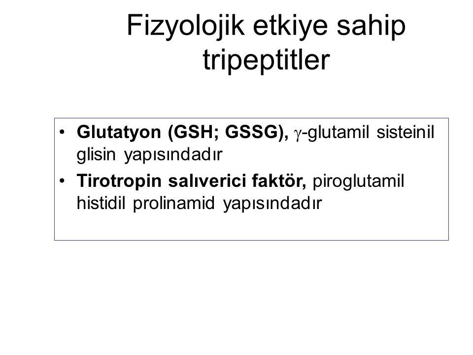 Fizyolojik etkiye sahip tripeptitler Glutatyon (GSH; GSSG),  -glutamil sisteinil glisin yapısındadır Tirotropin salıverici faktör, piroglutamil histi