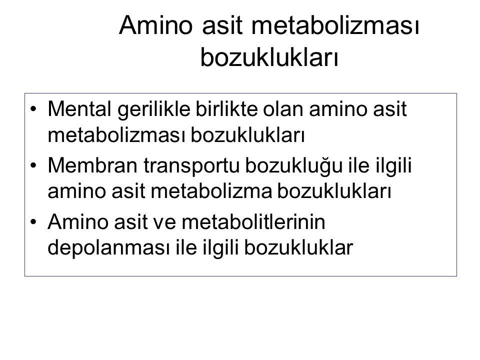 Amino asit metabolizması bozuklukları Mental gerilikle birlikte olan amino asit metabolizması bozuklukları Membran transportu bozukluğu ile ilgili ami