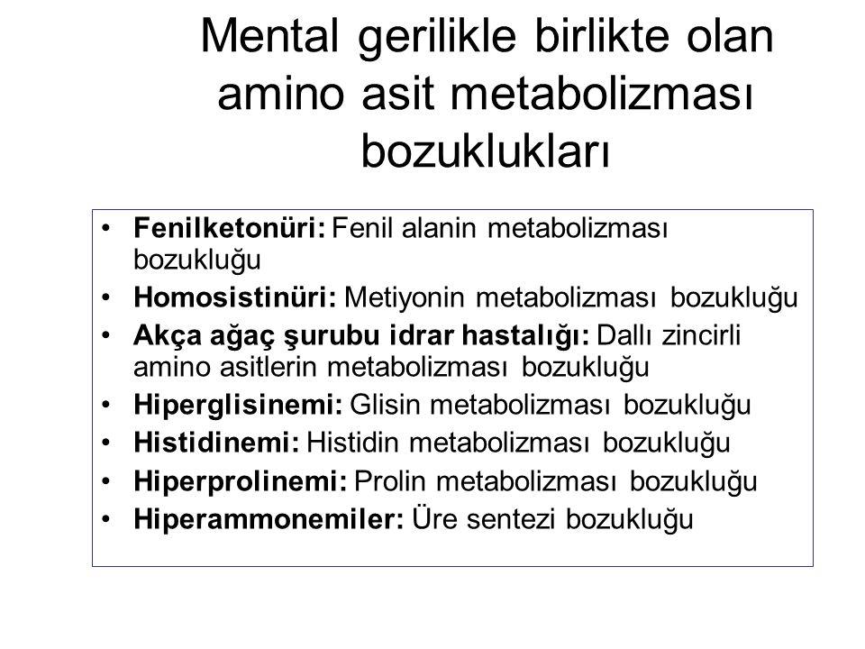 Mental gerilikle birlikte olan amino asit metabolizması bozuklukları Fenilketonüri: Fenil alanin metabolizması bozukluğu Homosistinüri: Metiyonin meta