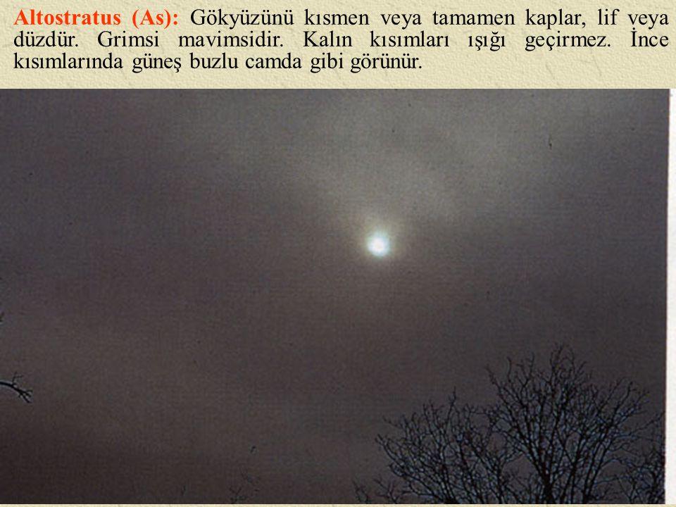Altostratus (As): Gökyüzünü kısmen veya tamamen kaplar, lif veya düzdür. Grimsi mavimsidir. Kalın kısımları ışığı geçirmez. İnce kısımlarında güneş bu