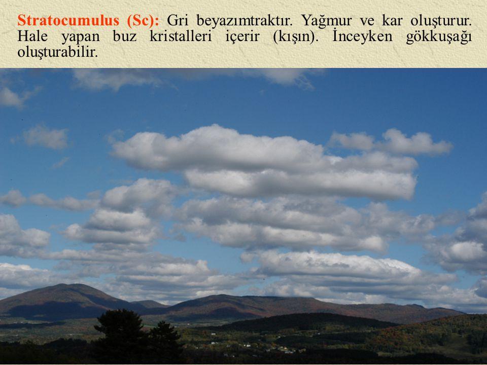 Stratocumulus (Sc): Gri beyazımtraktır. Yağmur ve kar oluşturur. Hale yapan buz kristalleri içerir (kışın). İnceyken gökkuşağı oluşturabilir.