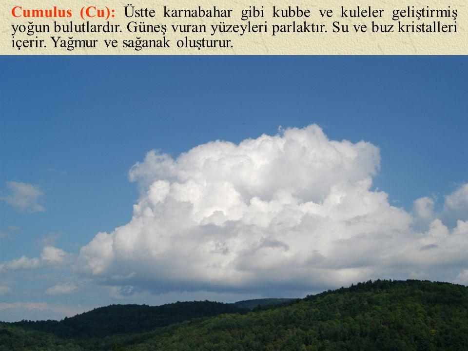 Cumulus (Cu): Üstte karnabahar gibi kubbe ve kuleler geliştirmiş yoğun bulutlardır. Güneş vuran yüzeyleri parlaktır. Su ve buz kristalleri içerir. Yağ