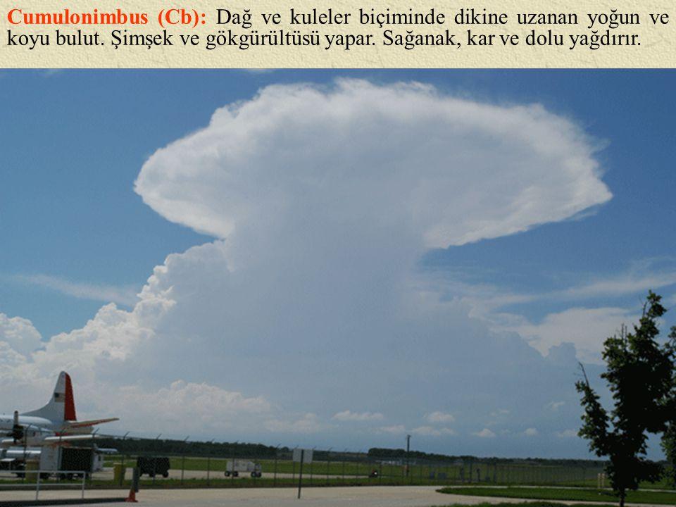 Cumulonimbus (Cb): Dağ ve kuleler biçiminde dikine uzanan yoğun ve koyu bulut. Şimşek ve gökgürültüsü yapar. Sağanak, kar ve dolu yağdırır.