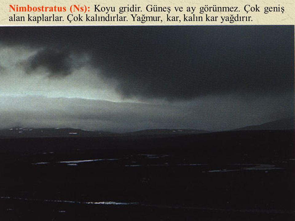 Nimbostratus (Ns): Koyu gridir. Güneş ve ay görünmez. Çok geniş alan kaplarlar. Çok kalındırlar. Yağmur, kar, kalın kar yağdırır.