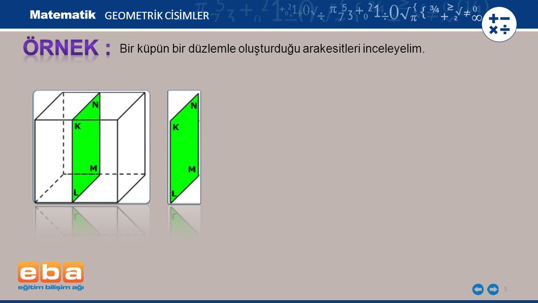 6 GEOMETRİK CİSİMLER Bir küpün bir düzlemle oluşturduğu arakesitleri inceleyelim.