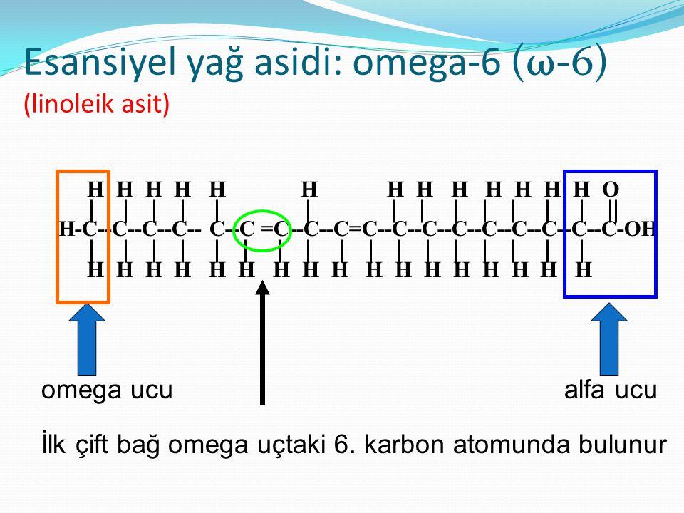 Esansiyel yağ asitleri Organizmada sentezlenemeyen ve diyetle alınması zorunlu yağ asitlerine esansiyel (zorunlu) yağ asidi adı verilir. Metil (CH3) g