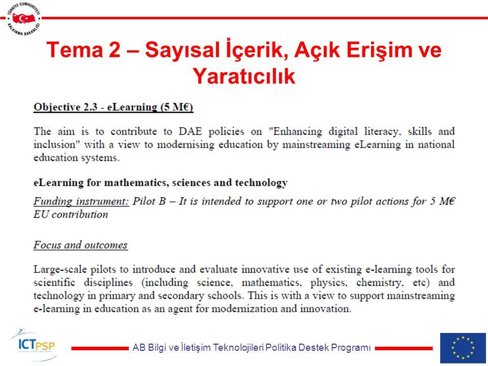 AB Bilgi ve İletişim Teknolojileri Politika Destek Programı Tema 2 – Sayısal İçerik, Açık Erişim ve Yaratıcılık