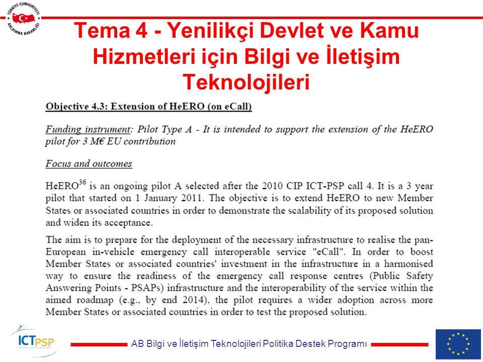 AB Bilgi ve İletişim Teknolojileri Politika Destek Programı Tema 4 - Yenilikçi Devlet ve Kamu Hizmetleri için Bilgi ve İletişim Teknolojileri