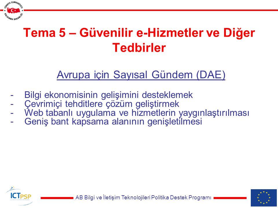 AB Bilgi ve İletişim Teknolojileri Politika Destek Programı Tema 5 – Güvenilir e-Hizmetler ve Diğer Tedbirler Avrupa için Sayısal Gündem (DAE) -Bilgi ekonomisinin gelişimini desteklemek -Çevrimiçi tehditlere çözüm geliştirmek -Web tabanlı uygulama ve hizmetlerin yaygınlaştırılması -Geniş bant kapsama alanının genişletilmesi