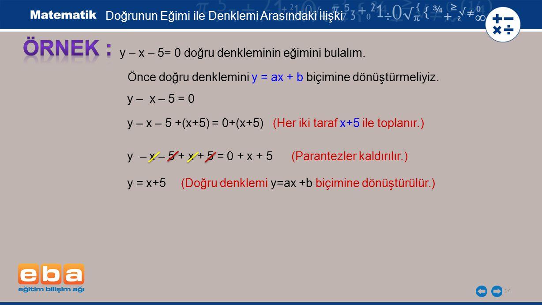14 y – x – 5= 0 doğru denkleminin eğimini bulalım. Önce doğru denklemini y = ax + b biçimine dönüştürmeliyiz. y – x – 5 = 0 y – x – 5 +(x+5) = 0+(x+5)
