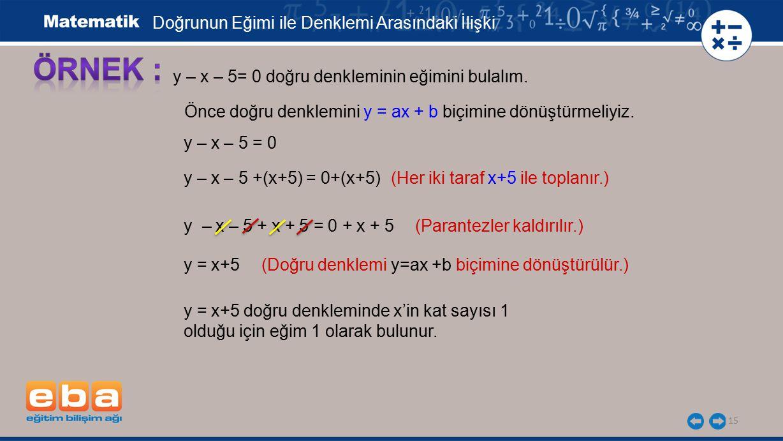 15 y – x – 5= 0 doğru denkleminin eğimini bulalım. Önce doğru denklemini y = ax + b biçimine dönüştürmeliyiz. y – x – 5 = 0 y – x – 5 +(x+5) = 0+(x+5)