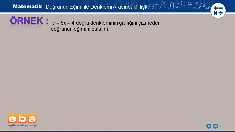 8 y = 5x – 4 doğru denkleminin grafiğini çizmeden doğrunun eğimini bulalım. Doğrunun Eğimi ile Denklemi Arasındaki İlişki