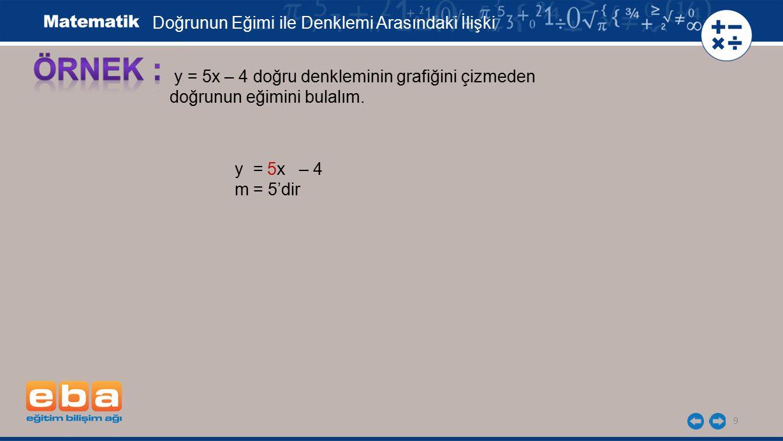 9 y = 5x – 4 doğru denkleminin grafiğini çizmeden doğrunun eğimini bulalım. y = 5x – 4 m = 5'dir Doğrunun Eğimi ile Denklemi Arasındaki İlişki