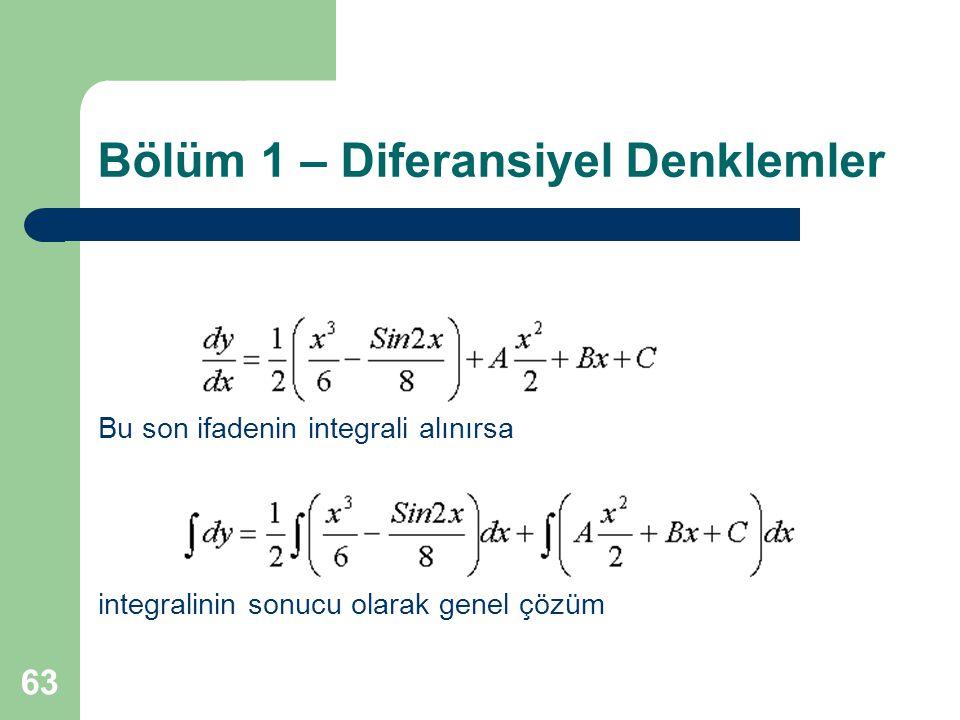 63 Bölüm 1 – Diferansiyel Denklemler Bu son ifadenin integrali alınırsa integralinin sonucu olarak genel çözüm