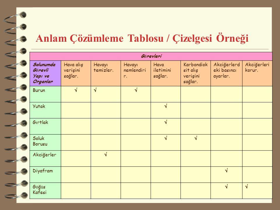 10 Anlam Çözümleme Tablosu / Çizelgesi Örneği G ö revleri Solunumda G ö revli Yapı ve Organlar Hava alış verişini sağlar. Havayı temizler. Havayı neml