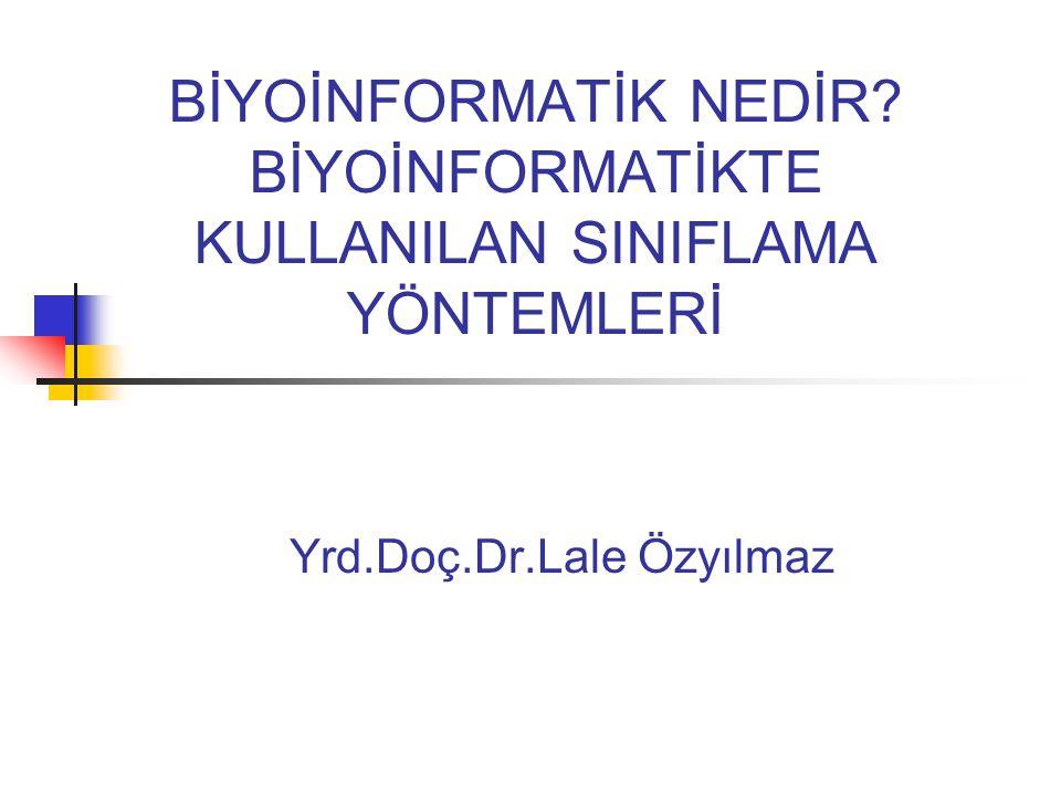BİYOİNFORMATİK NEDİR? BİYOİNFORMATİKTE KULLANILAN SINIFLAMA YÖNTEMLERİ Yrd.Doç.Dr.Lale Özyılmaz