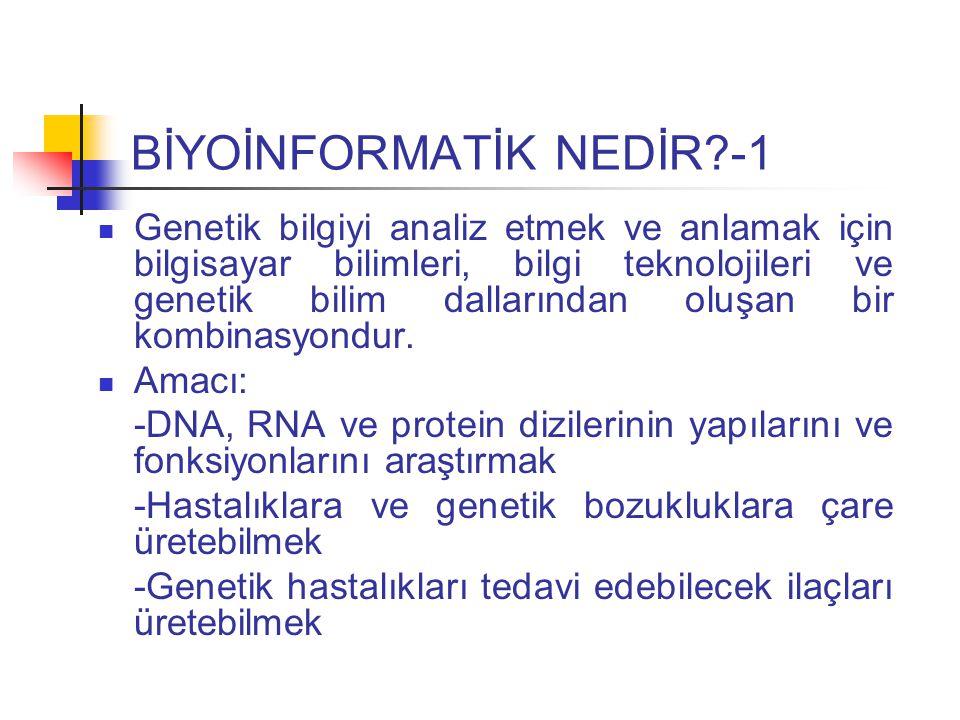 BİYOİNFORMATİK NEDİR?-1 Genetik bilgiyi analiz etmek ve anlamak için bilgisayar bilimleri, bilgi teknolojileri ve genetik bilim dallarından oluşan bir