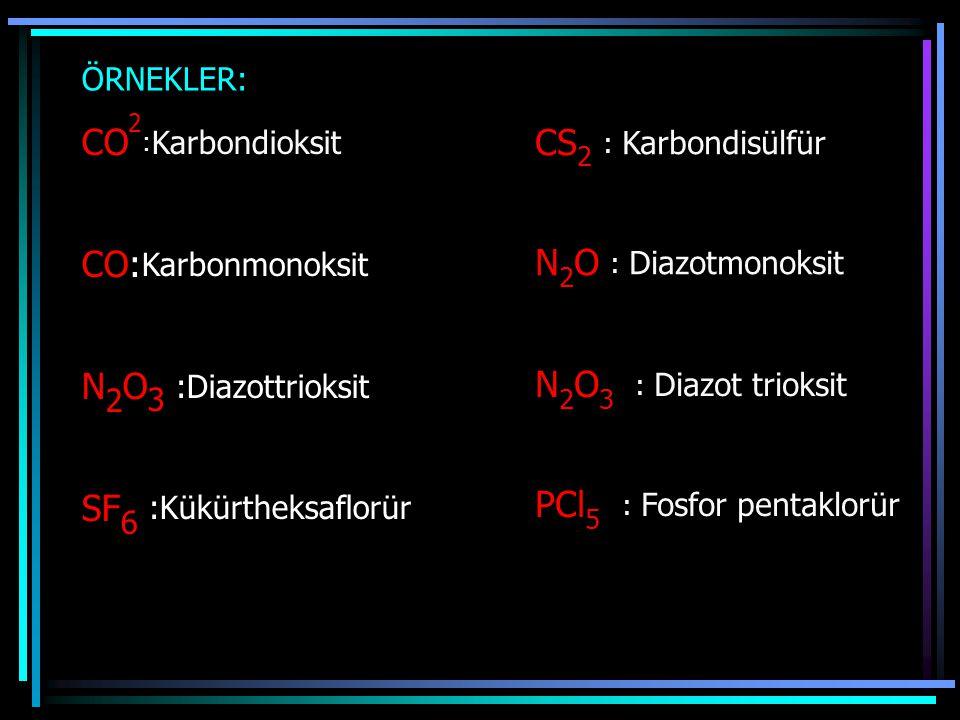 ÖRNEKLER: CO 2 : Karbondioksit CO: Karbonmonoksit N 2 O 3 :Diazottrioksit SF 6 :Kükürtheksaflorür CS 2 : Karbondisülfür N 2 O : Diazotmonoksit N 2 O 3