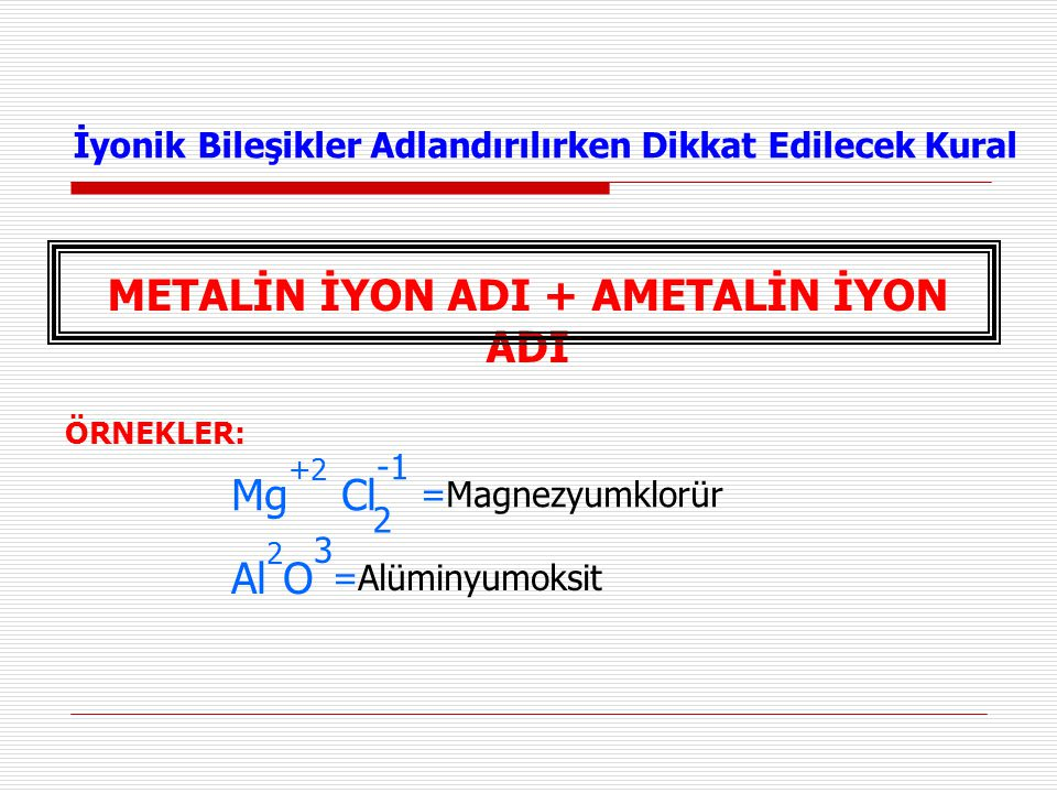 İyonik Bileşikler Adlandırılırken Dikkat Edilecek Kural METALİN İYON ADI + AMETALİN İYON ADI ÖRNEKLER: Mg +2 Cl -1 =Magnezyumklorür 2 Al 2 O 3 =Alümin